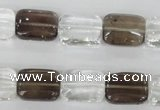 CSQ157 15.5 inches 12*16mm rectangle white crystal & smoky quartz beads