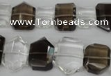 CSQ158 10-14mm*14-20mm nuggets white crystal & smoky quartz beads