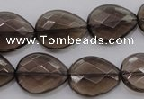 CSQ204 15*20mm faceted flat teardrop grade AA natural smoky quartz beads