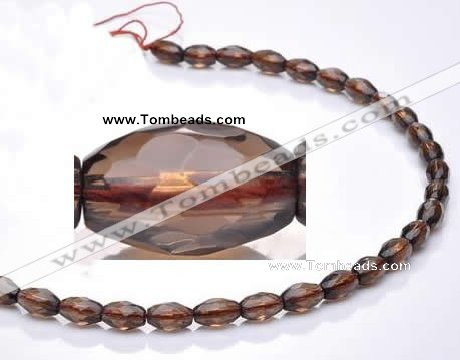 CSQ21 8*13mm faceted rice natural smoky quartz beads wholesale
