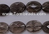 CSQ210 13*18mm faceted oval grade AA natural smoky quartz beads
