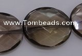 CSQ215 25*30mm faceted oval grade AA natural smoky quartz beads