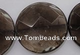 CSQ222 15.5 inches 35mm faceted coin grade AA natural smoky quartz beads