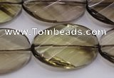 CSQ230 20*30mm faceted & twisted oval grade AA natural smoky quartz beads