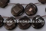 CSQ238 15*15mm faceted briolette grade AA natural smoky quartz beads