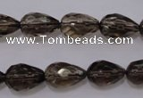 CSQ243 10*14mm faceted teardrop grade AA natural smoky quartz beads