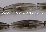 CSQ245 10*35mm faceted rice grade AA natural smoky quartz beads