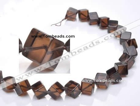 CSQ25 AB grade 12*12mm cube natural smoky quartz beads wholesale