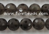 CSQ254 15.5 inches 14mm carved round matte smoky quartz beads
