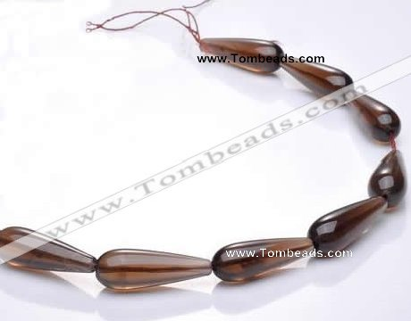 CSQ26 10*30mm teardrop AB grade natural smoky quartz beads