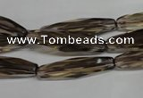 CSQ260 15.5 inches 8*28mm faceted rice natural smoky quartz beads