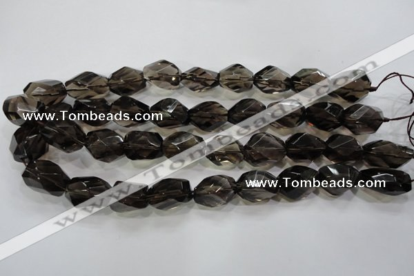 CSQ265 15.5 inches 15*20mm faceted nuggets smoky quartz beads