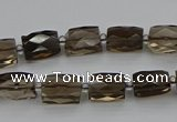 CSQ270 15.5 inches 8*10mm faceted rectangle smoky quartz beads