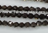 CSQ351 15.5 inches 6mm faceted nuggets smoky quartz beads