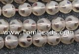 CSQ502 15.5 inches 8mm faceted round matte smoky quartz beads
