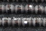 CSQ514 15.5 inches 12mm faceted round matte smoky quartz beads