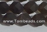 CSQ534 15.5 inches 12mm faceted nuggets matte smoky quartz beads