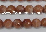 CSS506 15.5 inches 11mm faceted round natural golden sunstone beads