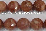 CSS509 15.5 inches 16mm faceted round natural golden sunstone beads