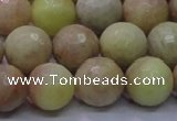CSS614 15.5 inches 12mm faceted round yellow sunstone gemstone beads