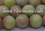 CSS615 15.5 inches 14mm faceted round yellow sunstone gemstone beads