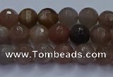 CSS641 15.5 inches 6mm faceted round sunstone gemstone beads