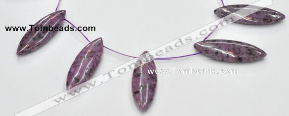 CSU25 AB grade 20*60mm flat rice dyed natural sugilite beads