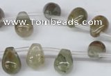 CSW120 Top-drilled 10*14mm teardrop seaweed quartz beads wholesale