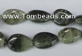 CSW162 15.5 inches 10*14mm flat teardrop seaweed quartz beads wholesale