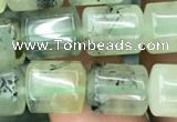 CTB601 15.5 inches 9*11mm tube green rutilated quartz beads