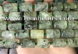 CTB654 15.5 inches 12*16mm faceted tube green rutilated quartz beads