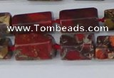 CTB739 15.5 inches 6*10mm - 8*12mm faceted tube poppy jasper beads