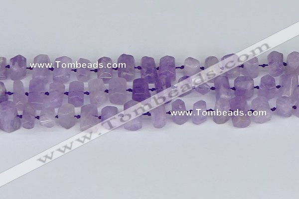 CTB752 15.5 inches 6*10mm - 8*12mm faceted tube lavender amethyst beads