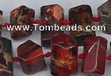 CTB763 15.5 inches 6*10mm - 8*12mm faceted tube poppy jasper beads