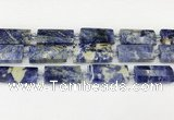 CTB853 13*25mm - 15*28mm faceted flat tube sodalite beads
