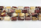 CTB873 13*25mm - 14*19mm faceted tube mookaite beads
