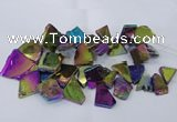 CTD1169 Top drilled 15*25mm - 30*40mm freeform plated agate beads