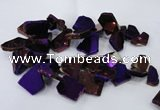 CTD1170 Top drilled 15*25mm - 30*40mm freeform plated agate beads