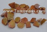 CTD1173 Top drilled 15*25mm - 30*40mm freeform plated agate beads