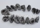 CTD1175 Top drilled 25*30mm - 35*40mm freeform plated druzy quartz  beads