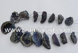 CTD1177 Top drilled 25*30mm - 35*40mm freeform plated druzy quartz  beads