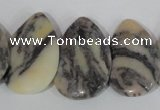 CTD15 Top drilled 22*30mm flat teardrop zebra jasper beads