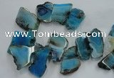 CTD1502 Top drilled 20*40mm - 25*50mm freeform agate slab beads
