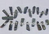 CTD1611 Top drilled 13*25mm - 15*45mm freeform plated druzy quartz beads