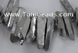 CTD1623 Top drilled 4*15mm - 6*35mm sticks plated quartz beads