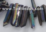 CTD1626 Top drilled 4*15mm - 6*35mm sticks plated quartz beads