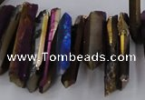 CTD1627 Top drilled 4*15mm - 6*35mm sticks plated quartz beads