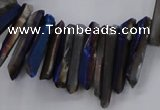 CTD1628 Top drilled 4*15mm - 6*35mm sticks plated quartz beads