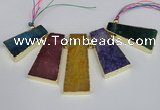 CTD1677 Top drilled 20*40mm - 25*50mm trapezoid agate gemstone beads