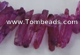 CTD1694 Top drilled 5*15mm - 7*35mm sticks dyed white crystal beads